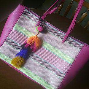 Handbags - Colorful pompom pirse charm tote bag